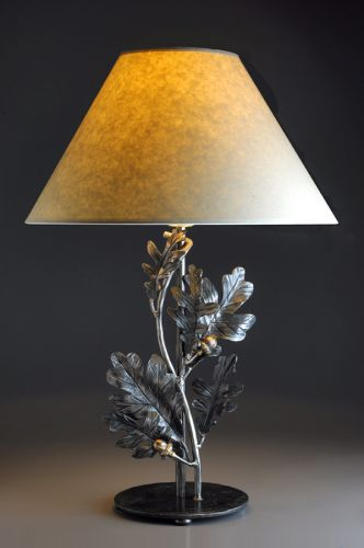 Wrought iron oak and acorn table lamp winnipesaukee forge oak and acorn table lamp aloadofball Image collections