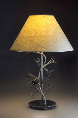 Wrought Iron Pine Branch Table Lamp Winnipesaukee Forge